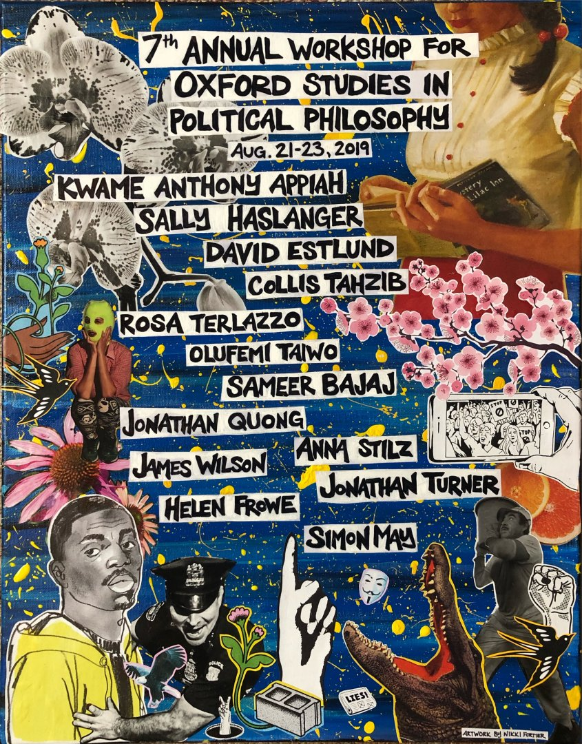 Session poster: names of the participants, images related to political philosophy